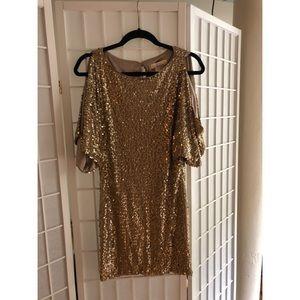 Aidan Mattox Gold Sheath Dress